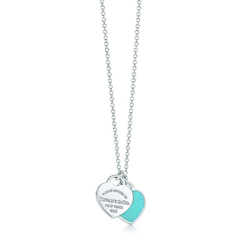 Tiffany & Co./蒂芙尼 Return to Tiffany系列 925银 蓝色珐琅迷你心形吊坠项链