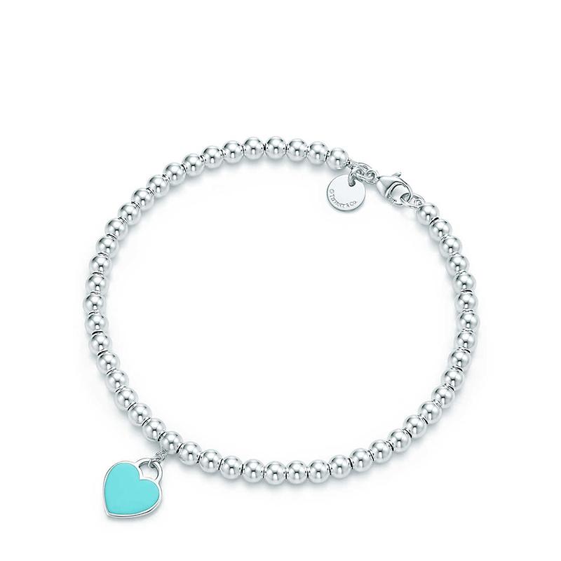 Tiffany & Co./蒂芙尼 Return to Tiffany系列 925银 蓝色珐琅迷你心形吊坠珠式手链
