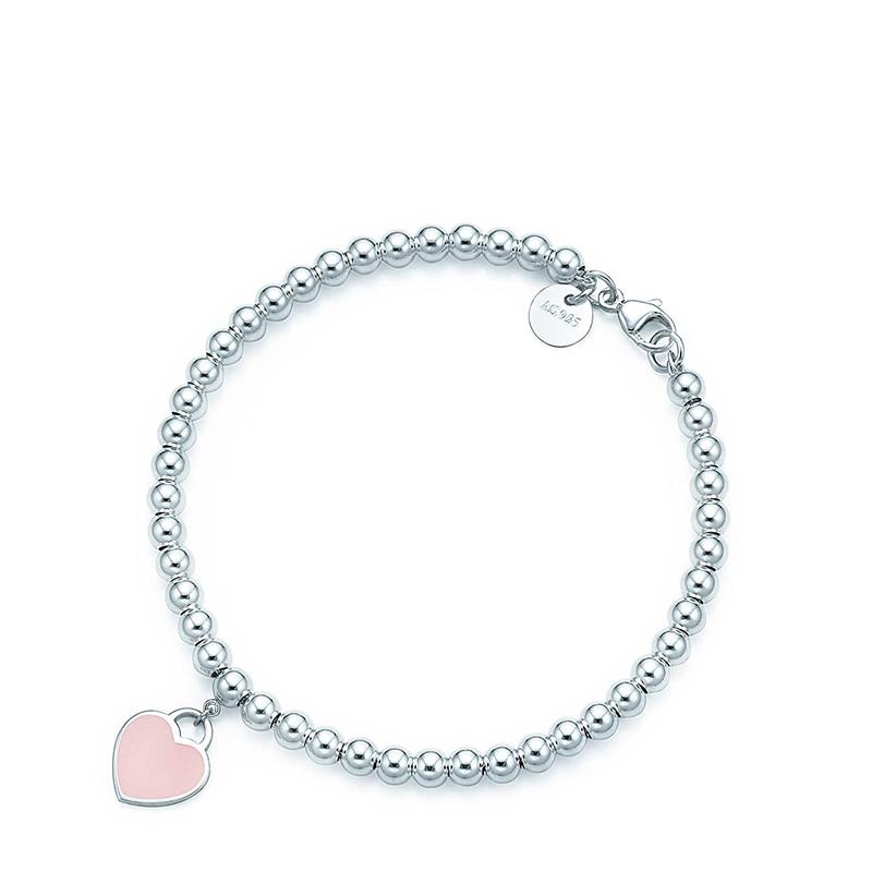 Tiffany & Co./蒂芙尼 Return to Tiffany系列 925银 粉色珐琅迷你心形吊坠手链