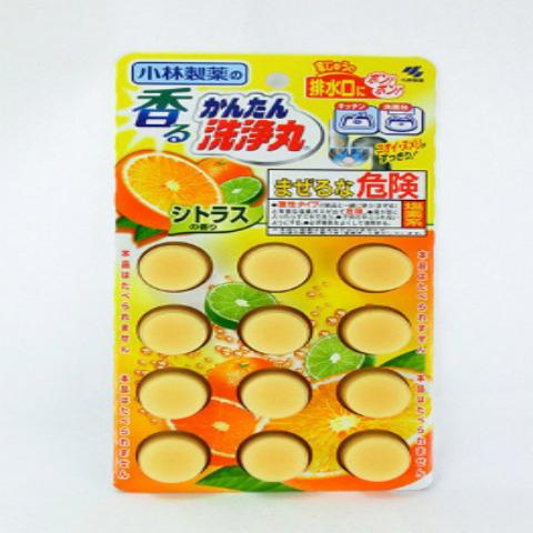 小林制药KOBAYASHI 排水口清洁丸 12 片  橘子味