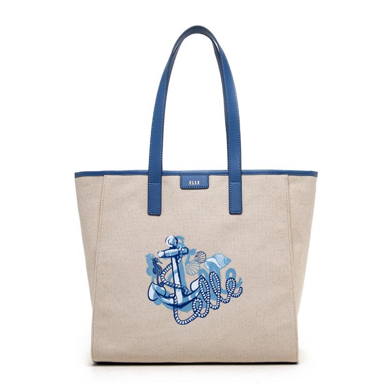 ELLE2019春季新款时尚航海元素帆布包单肩斜跨包女包E29S1490611