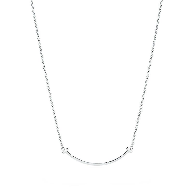 Tiffany & Co./蒂芙尼 Tiffany T系列 925银 mini微笑/笑脸可调节项链 40/45cm 36340207