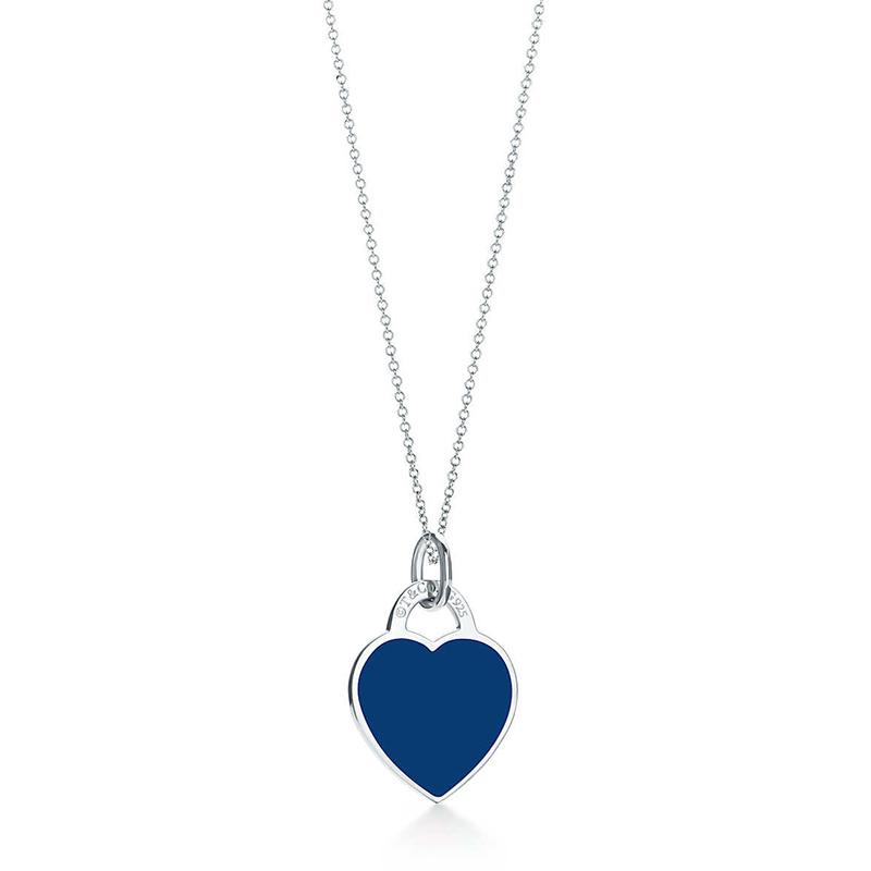 Tiffany & Co./蒂芙尼 Return to Tiffany系列 925银 时尚深蓝色珐琅心形小号吊坠项链