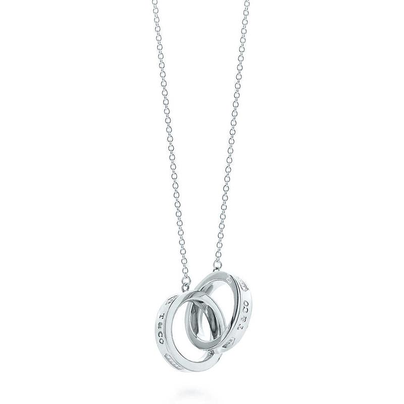 Tiffany & Co./蒂芙尼 1837系列 925银 双环扣小号吊坠项链 GRP02386