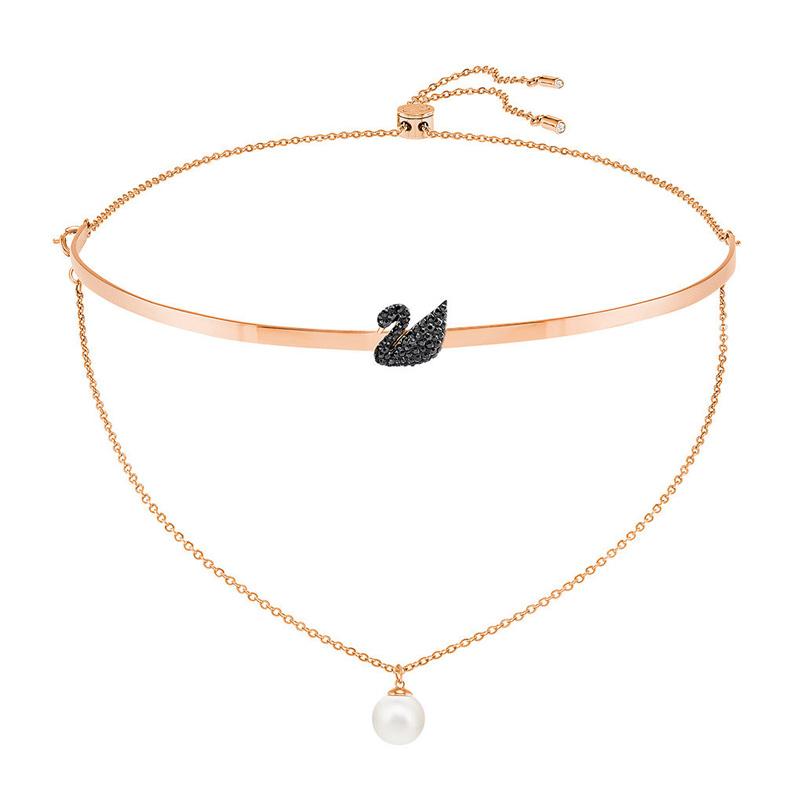 Swarovski 施华洛世奇 女士镀玫瑰金色黑天鹅束颈项链 5351807