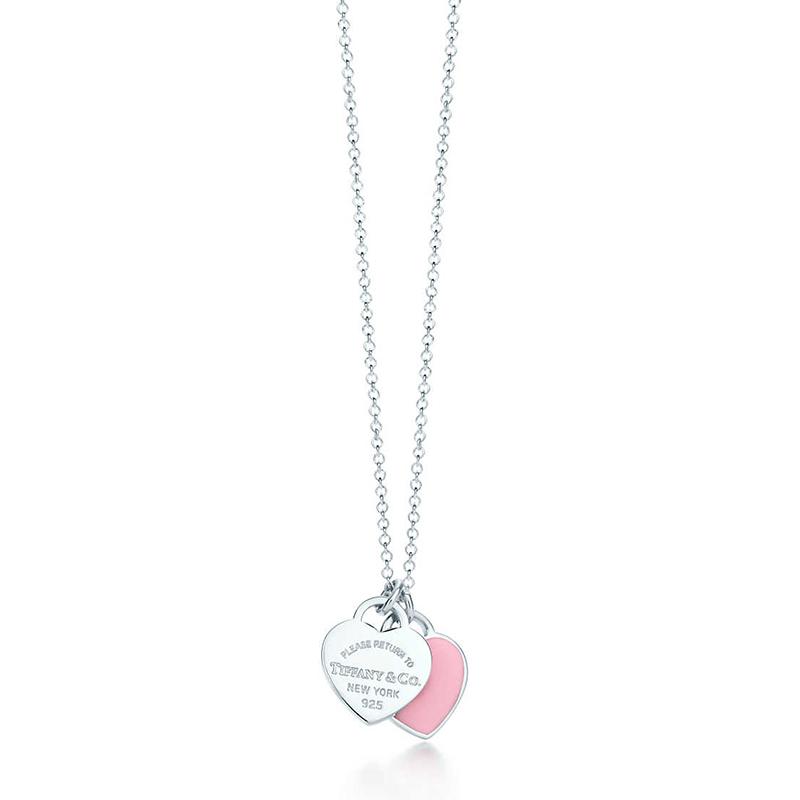 Tiffany & Co./蒂芙尼 Return to Tiffany系列 925银 粉色珐琅迷你心形吊坠项链 40cm 28751249