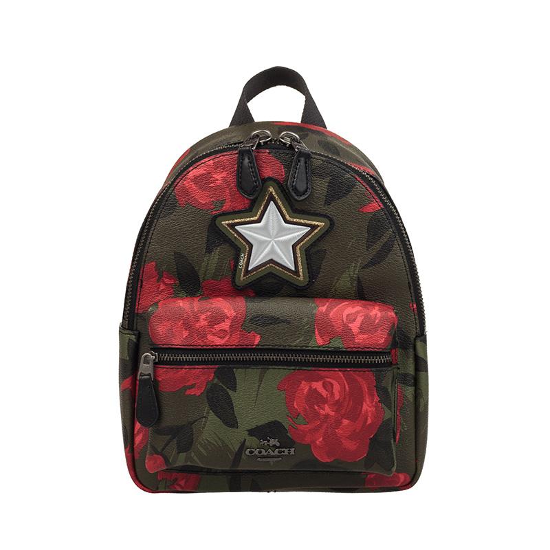 【18新品】COACH 蔻驰 女士迷彩玫瑰花卉图案双肩包迷你款背包 F25869QBREM