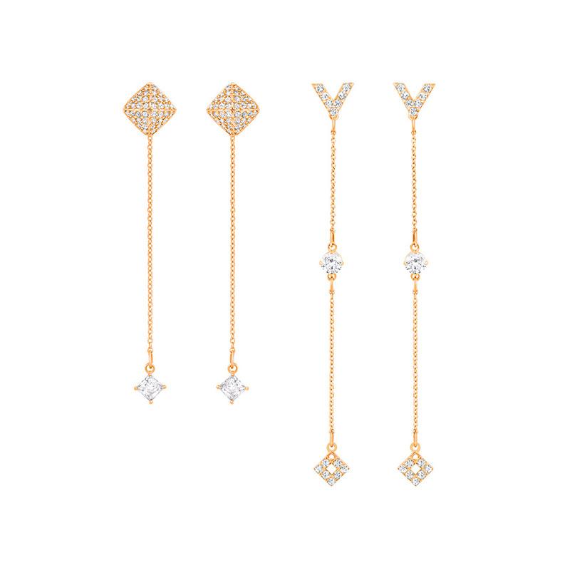 Swarovski 施华洛世奇 GRAPEFRUIT系列 女士镀玫瑰金色穿孔耳环 5385654
