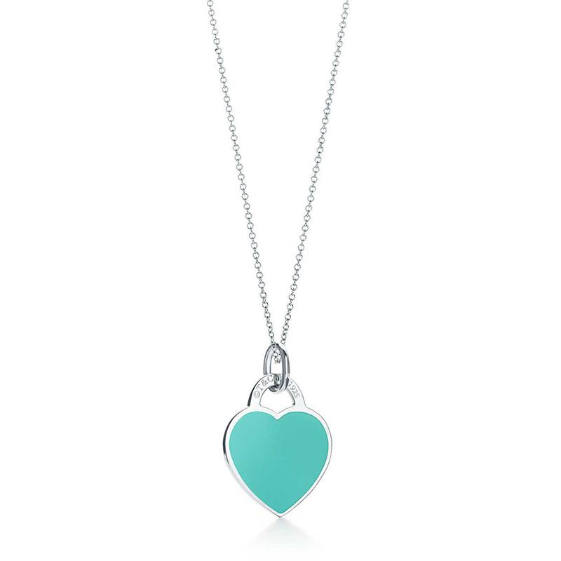 Tiffany & Co./蒂芙尼 Return to Tiffany系列 925银 时尚蓝色珐琅心形小号吊坠项链