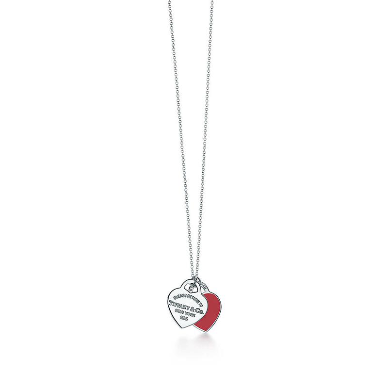 Tiffany & Co./蒂芙尼 Return to Tiffany系列 925银 红色珐琅双心小号吊坠可调节项链 40/45cm 61941835