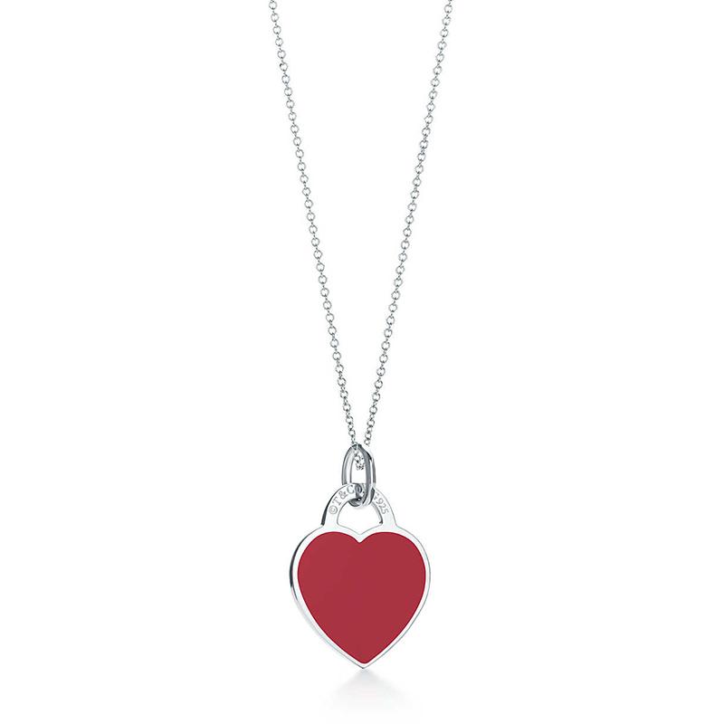 Tiffany & Co./蒂芙尼 Return to Tiffany系列 925银 时尚红色珐琅心形小号吊坠项链