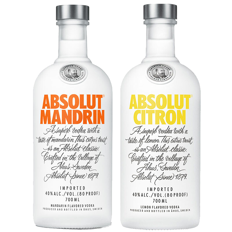 绝对伏特加(Absolut Vodka)洋酒 柑橘味+柠檬味 伏特加 双支装 700ml*2