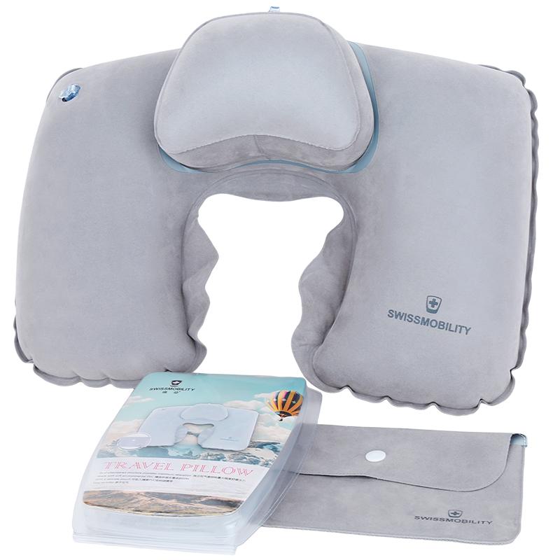 瑞动户外充气枕U型枕头护颈枕旅游颈椎枕头睡枕脖子飞机旅行头枕MT-5655冷灰色