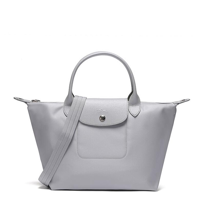 Longchamp 珑骧 LePliageNéo系列女士银色尼龙手提包 1512578023