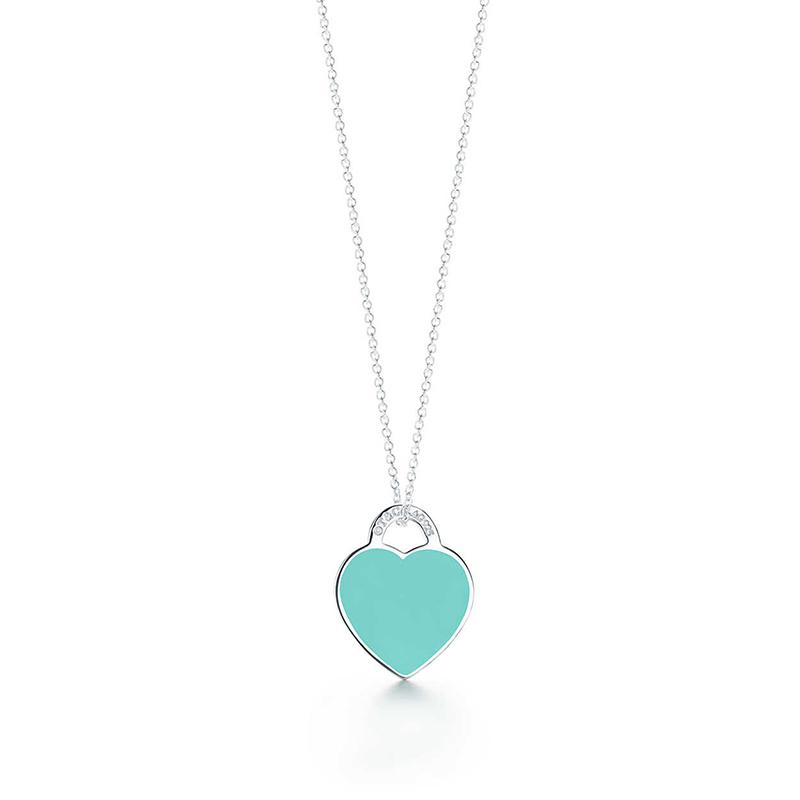 Tiffany & Co./蒂芙尼 Return to Tiffany系列 蓝色珐琅心形小号吊牌可调节项链 40-45cm 37094722