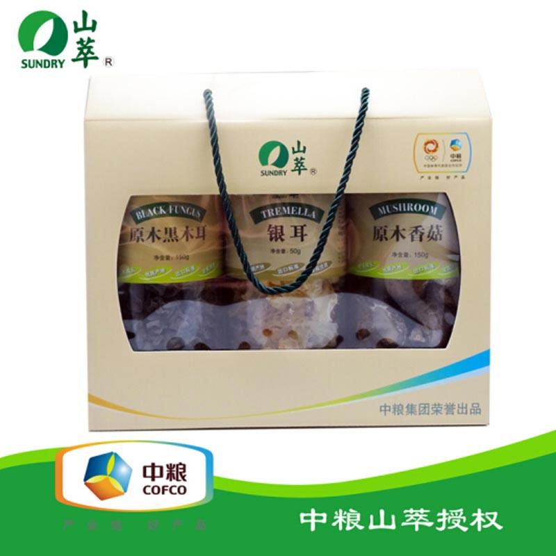 中粮山萃原木黑木耳香菇银耳食用菌礼盒350g(3桶装)