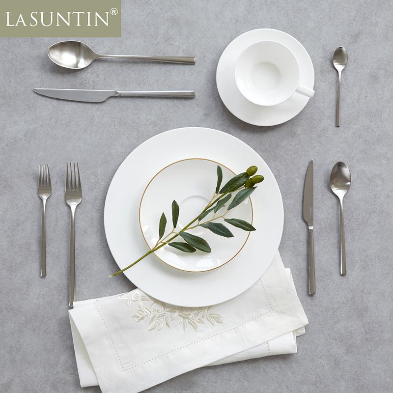 LaSuntin欧式西餐餐具砂光加厚304不锈钢刀叉勺主餐叉牛排叉刀具