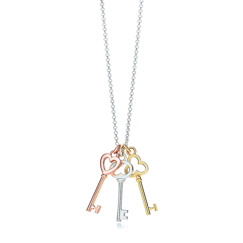 Tiffany & Co./蒂芙尼 Tiffany Keys系列 925银+18K金+18K玫瑰金 爱 幸运与光明三色钥匙吊坠项链 40cm 28335679