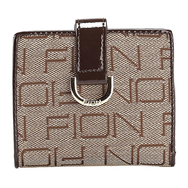 FION 菲安妮 中性款式织花料短款钱夹 钱包