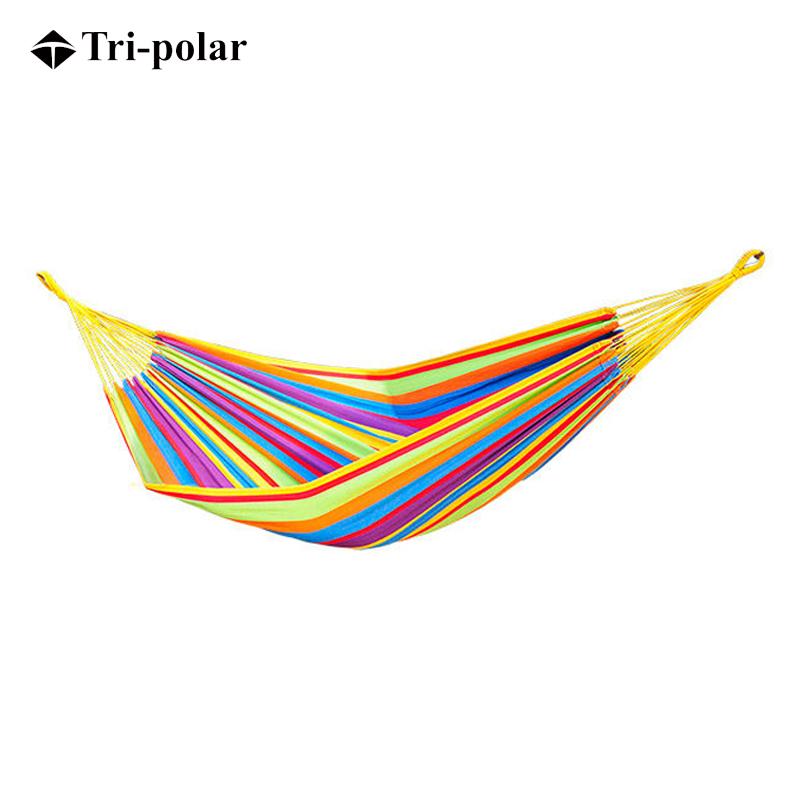 Tri-polar三极户外帆布吊床 双人加厚防侧翻秋千 彩虹条纹TP1105