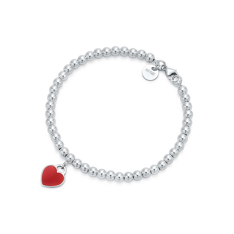 Tiffany & Co./蒂芙尼 Return to Tiffany系列 925银 红色珐琅迷你心形吊坠珠式手链