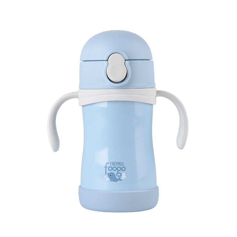膳魔师(THERMOS) 儿童带把手吸管保温杯304不锈钢真空宝宝水杯子学饮杯 TKFB-280S二段蓝色