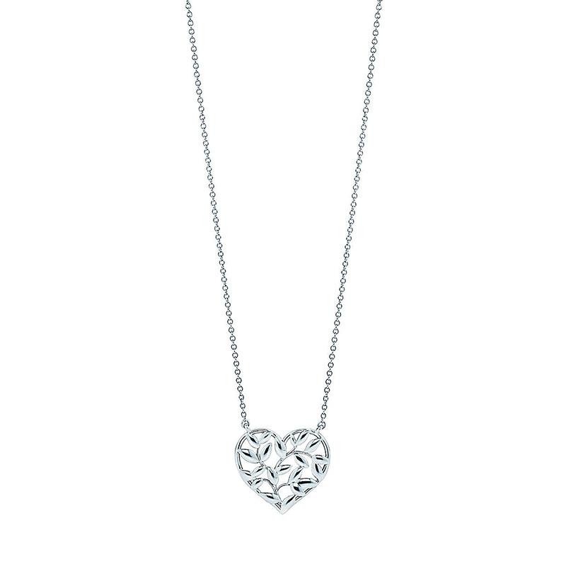 Tiffany & Co./蒂芙尼 Paloma Picasso系列 925银 橄榄叶心形吊坠项链 45cm 30143159
