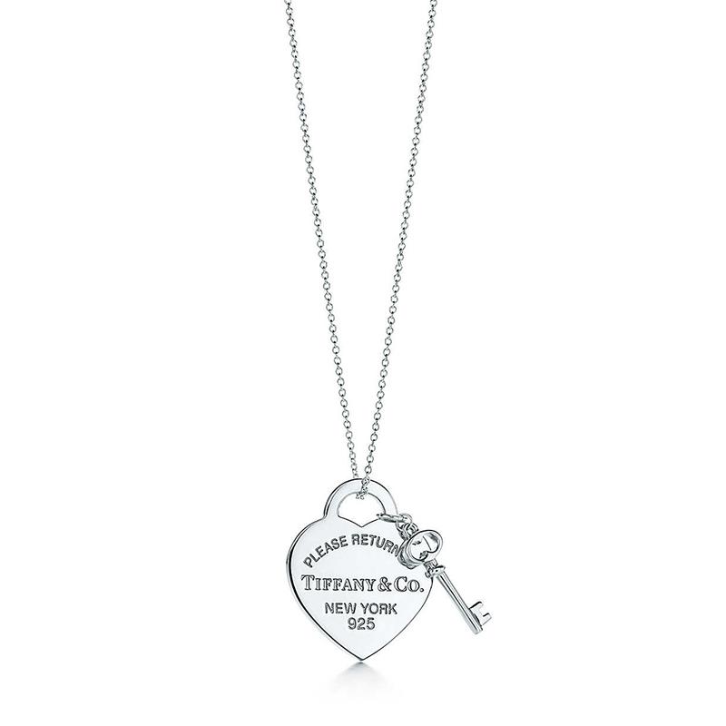 Tiffany & Co./蒂芙尼 Return to Tiffany系列 925银 中号心形钥匙吊坠项链 40cm 26909686