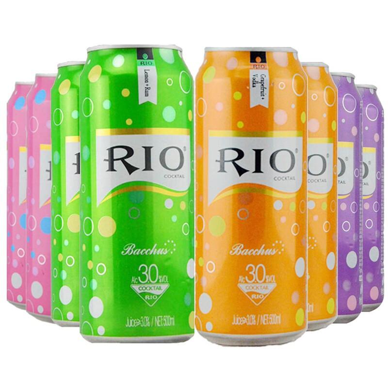 锐澳(RIO)预调鸡尾酒 柠檬+白桃+西柚+葡萄混合味 500ml*8罐
