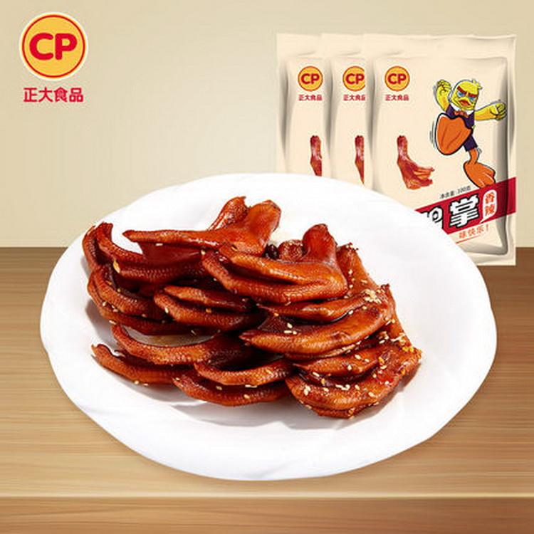【正大食品】香辣鸭掌真空小包装休闲鸭肉零食100g3包邮