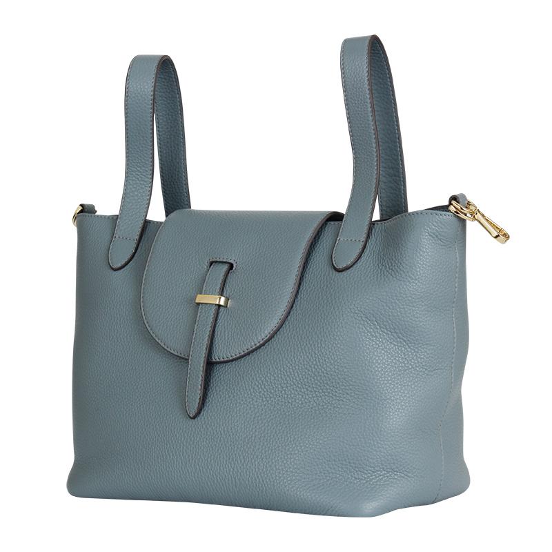 Samsonite新秀丽 BR1全牛皮时 尚女士手拎包水桶包单肩包 蓝色大号