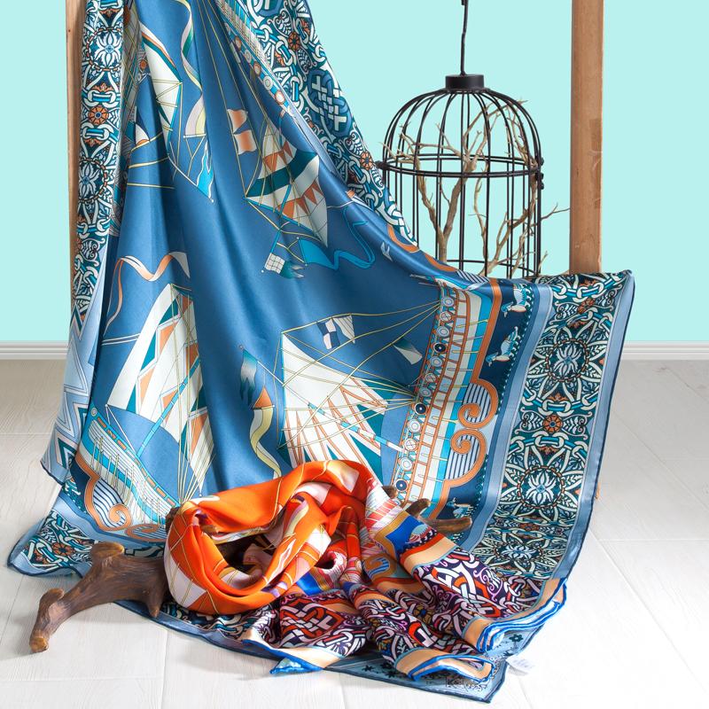 太湖雪真丝大方巾105*105cm 100%桑蚕丝 手工卷边 礼盒包装