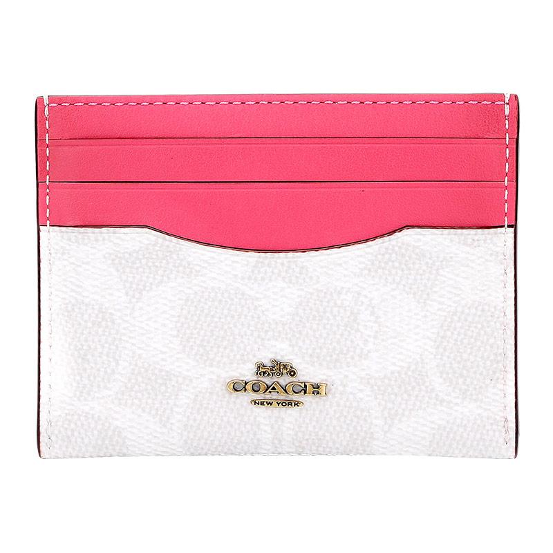 蔻驰 COACH 奢侈品 女士专柜款人造革配皮卡包卡夹粉拼色 31541 B4R7C