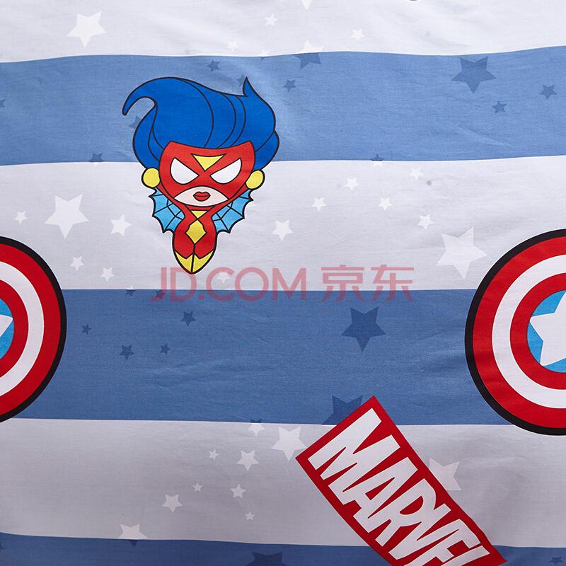 迪士尼(Disney)床品套件 儿童全棉卡通四件套 漫威卡哇伊条纹 活性印染 蓝色 1.2米床,迪士尼(Disney)