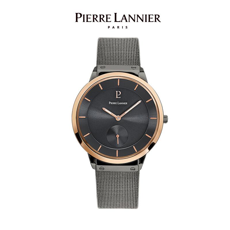 连尼亚(PIERRE LANNIER)法国进口手表男表 40mm黑盘金边钢带超薄男士石英手表PL-235D488