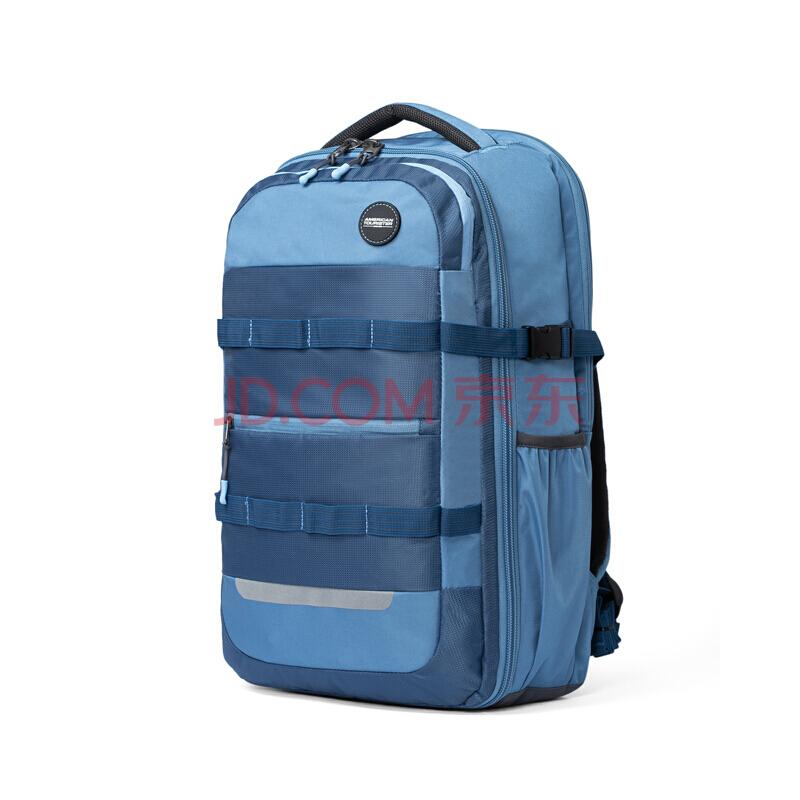 美旅背包男书包大学生双肩包大容量背包户外旅行包 82O*003复古蓝,美旅箱包(AmericanTourister)