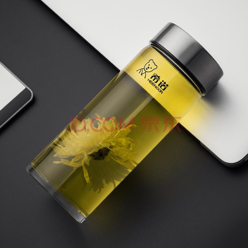 希诺(HEENOOR)玻璃杯单层加厚男女士商务办公泡茶杯耐热便携车载水杯XN-6015 280ml,希诺(HEENOOR)
