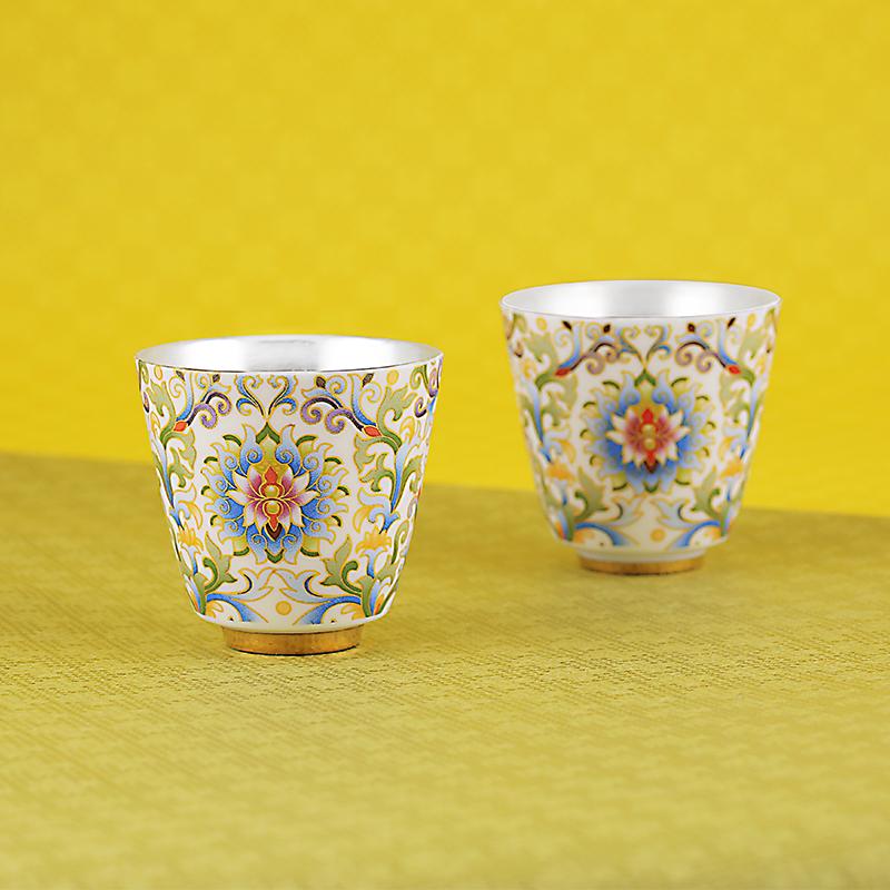 工美北京礼品宝相花银瓷杯999手工包银内胆杯纯银品茗杯银茶杯