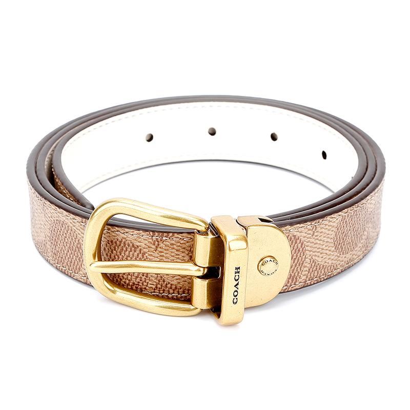 蔻驰 COACH 奢侈品 女士专柜款人造革配皮腰带皮带卡其色 72685 B4OS5