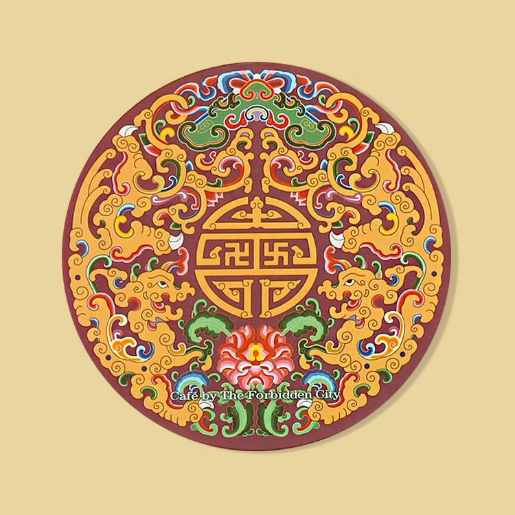 宮廷紋飾杯墊-繡金團紋夔龍飾