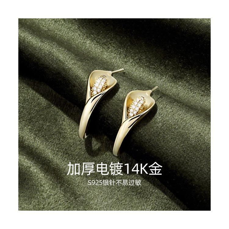 静风格S925银针耳钉女人工皓石耳环高级大气花朵海芋之恋JB201S0004