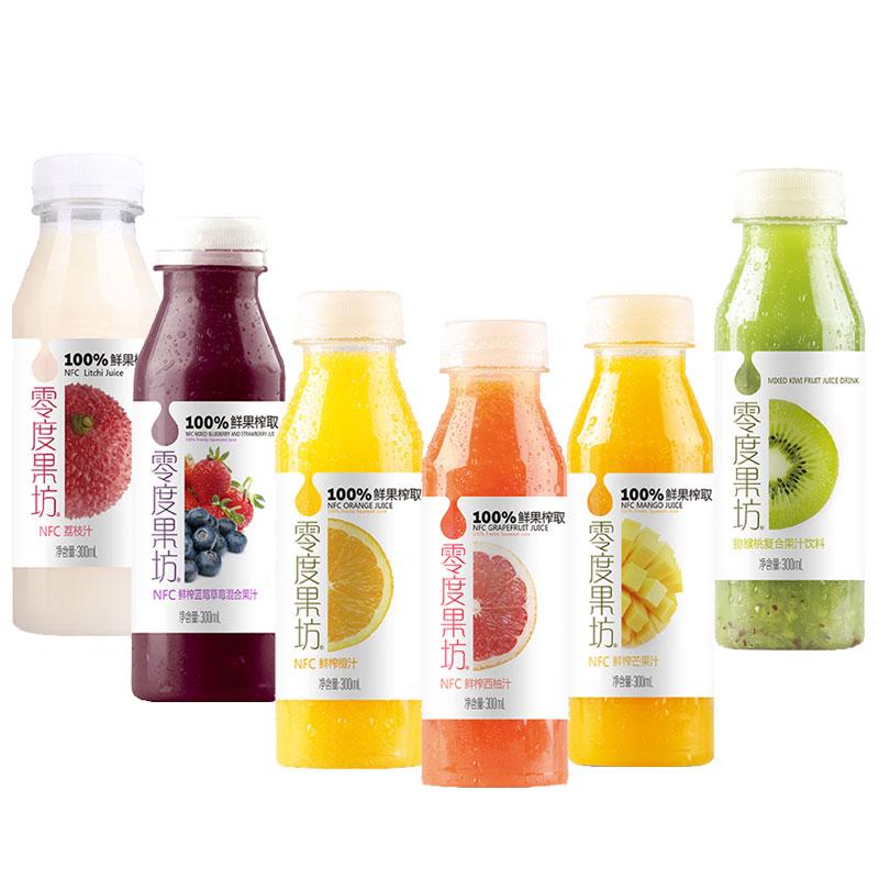 零度果坊NFC鲜果汁(6种口味各两瓶)300ml*12瓶