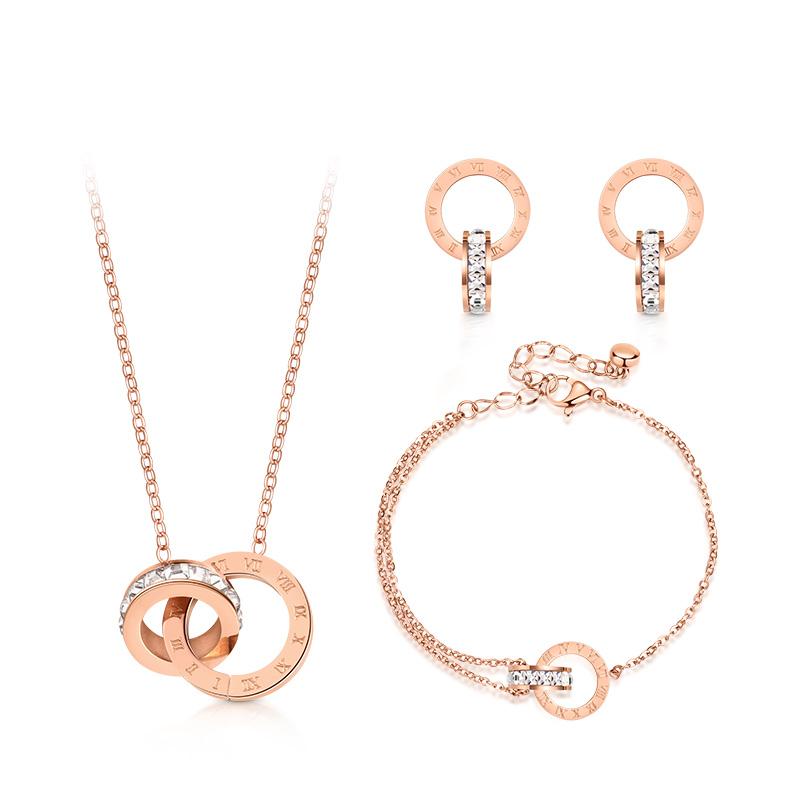 T400双环项链女锁骨链套装罗马数字吊坠玫瑰金手链耳钉三件套 B3334M01