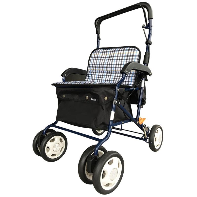TacaoF 特高步 日本老年人购物手推车 铝合金可折叠助步车 轻便遛弯可坐椅子 买菜扶手助行器四轮 舒适型T-SIST07