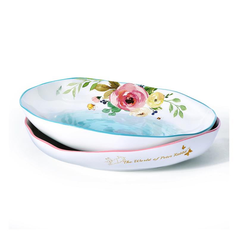 比得兔湯盤創意餐盤陶瓷餐具深盤家用菜盤陶瓷水果沙拉盤PR-T1155