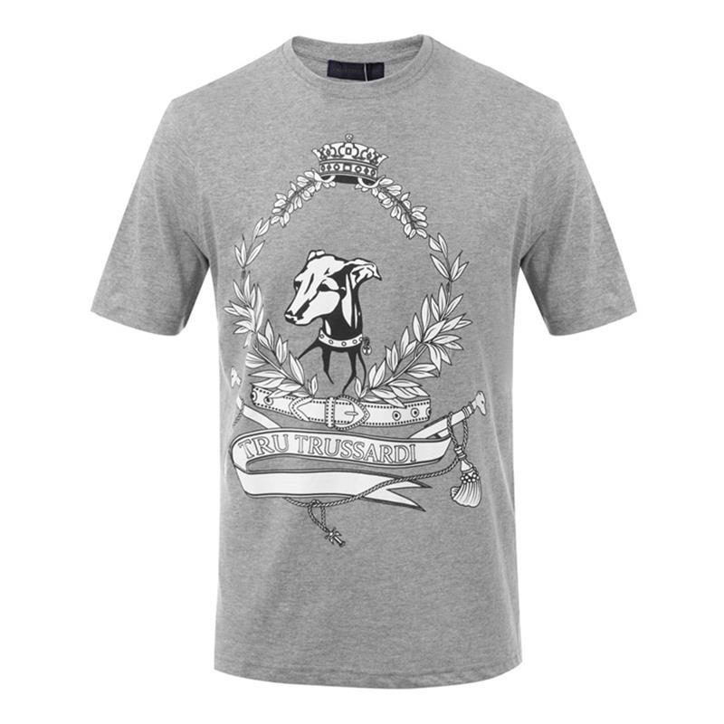 Trussardi/楚萨迪 圆领男士短袖T恤 32T00164 灰色/红色/白色/黑色