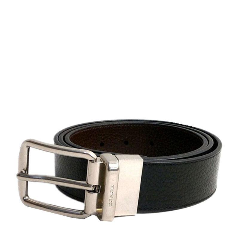 COACH 蔻驰 奢侈品 男款黑色皮质针扣腰带皮带 F64840 AQ0