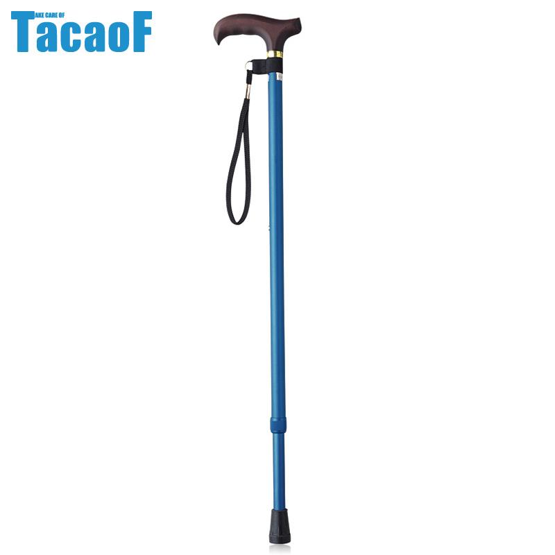 TacaoF/特高步 日本老人拐杖 防滑手杖 铝合金老年拐杖可调节拐棍枫木手柄 蓝色+伸缩EP-106(身高137-182cm)