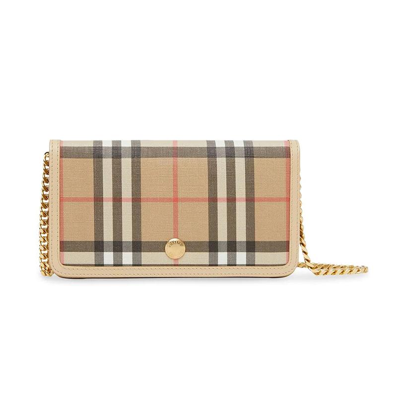 BURBERRY/博柏利 女士格纹帆布钱包单肩斜挎包
