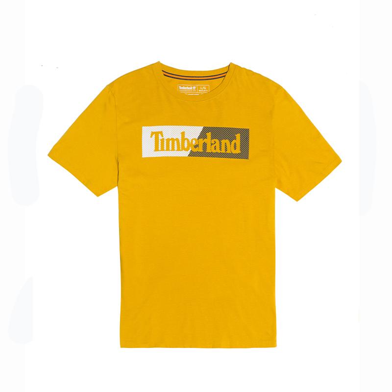 Timberland添柏岚男装新款舒适印花短袖圆领T恤黄色 A2ME6-311